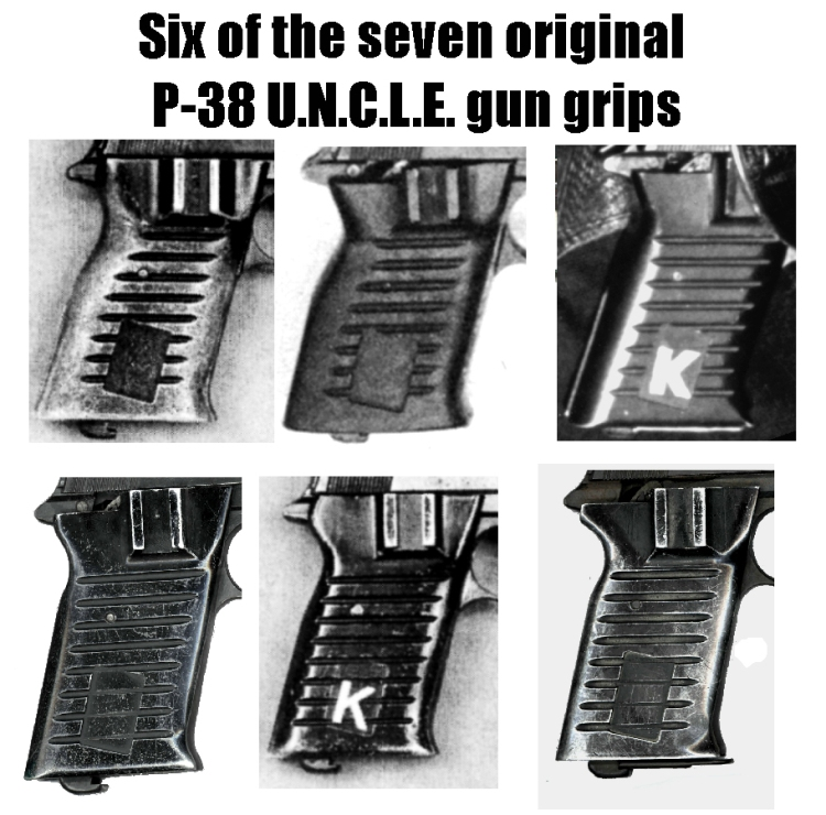 Six of the 7 p-38 UNCLE grips made for the TV series.