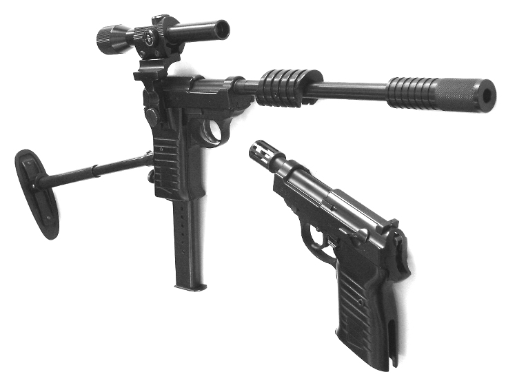 U.N.C.L.E. Airsofts with aluminum grips and steel and aluminum carbine attachments by TheUncleGun.com